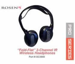 Rosen VPL2591 Fold-Flat 2-channel IR wireless Headphones AC3640