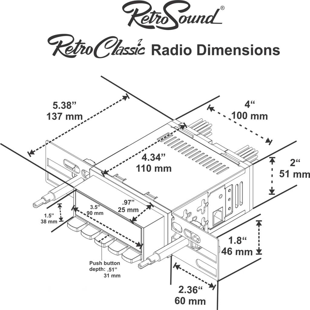 Retro Classic Radio Dimensions