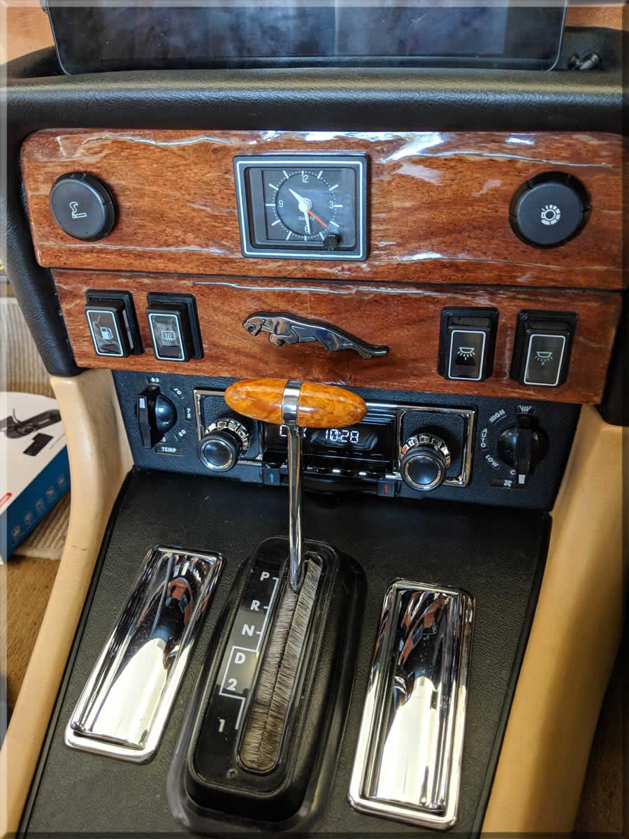 Old cracked wood veneer on dash