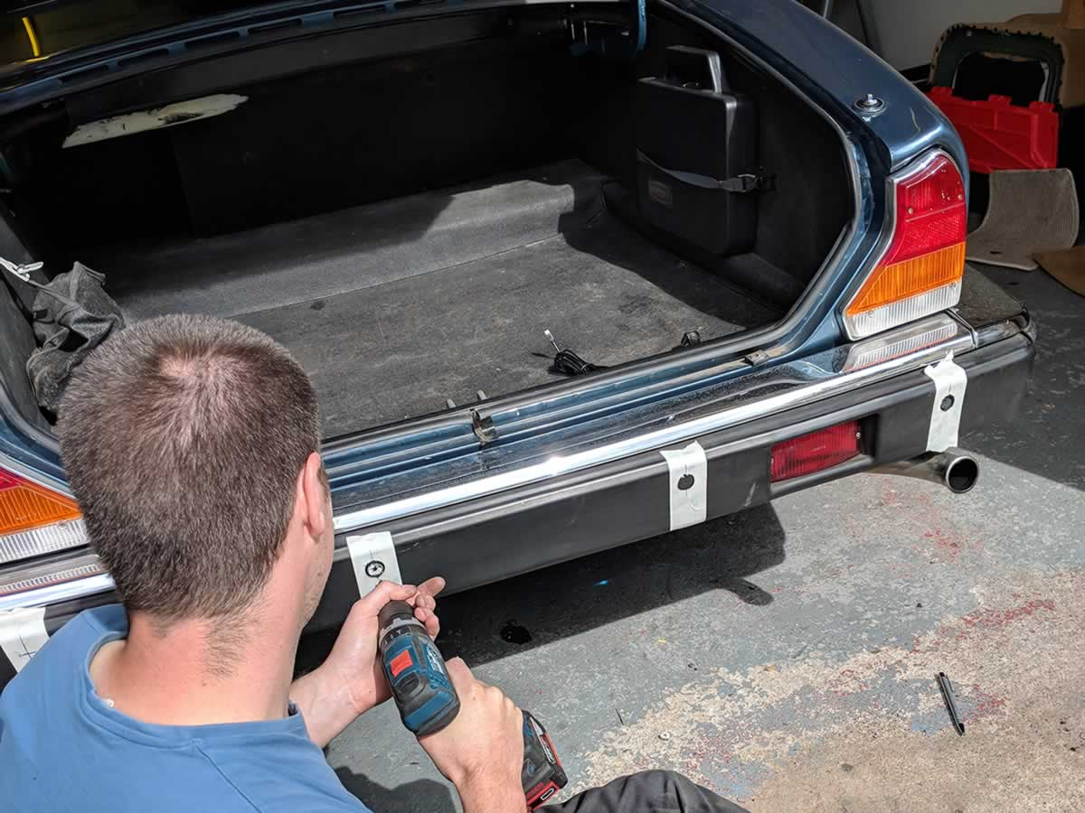 Daz drilling holes for the rear parking sensors